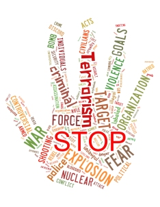 Stop Terrorism, Stop War, Stop Violence, Word Cloud Concept