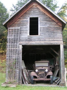 Old car in an old barn in the country USA