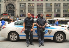 NYPD officers providing security at the Times Square
