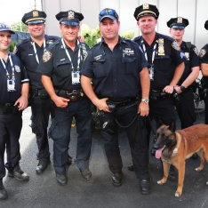 NYPD transit bureau K-9 police officers and K-9 dog providing se