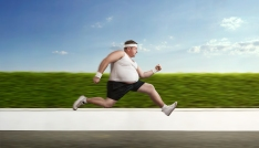 Funny Overweight /mman On The Run