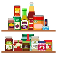 Supermarket Foods. Grocery Items On Shelves. Supermarket Food, S